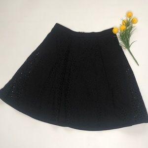 Ann Taylor Black Eyelet  A line Skirt